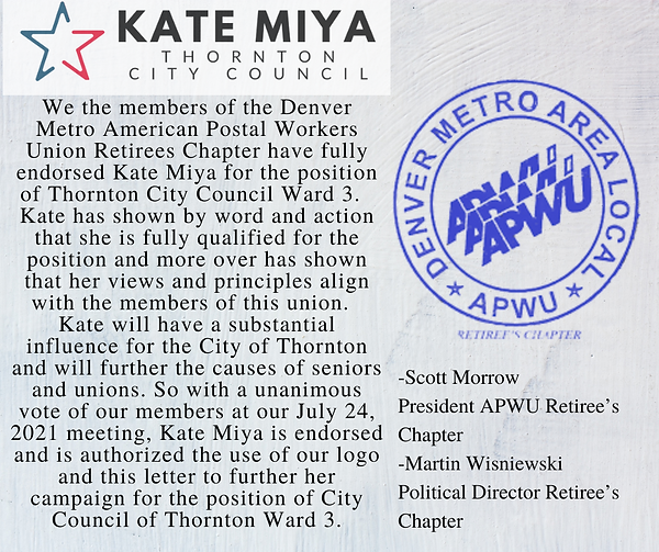 Copy of I'm supporting Kate Miya for Thornton City Council because she will listen to our