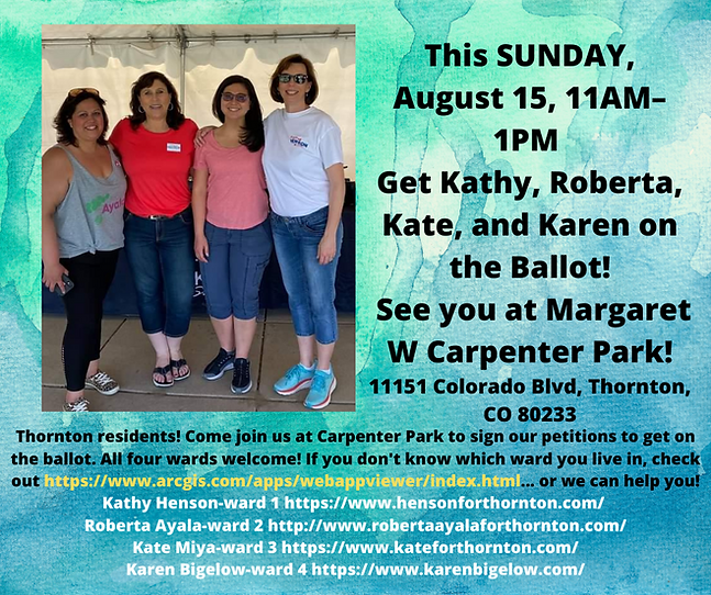 This SUNDAY, August 15 AT 11 AM MDT – 1 PM MDT Get Kathy, Roberta, Kate, and Karen on the