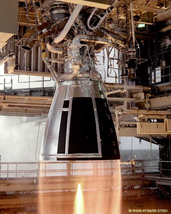 An RS-68 engine undergoing hot-fire testing at NASA's Stennis Space Center during its developmental phase. The Aerojet Rocketdyne RS-68 (Rocket System 68) is a liquid-fuel rocket engine that uses liquid hydrogen (LH2) and liquid oxygen (LOX) as propellants in a gas-generator power cycle. It is the largest hydrogen-fueled rocket engine ever flown.