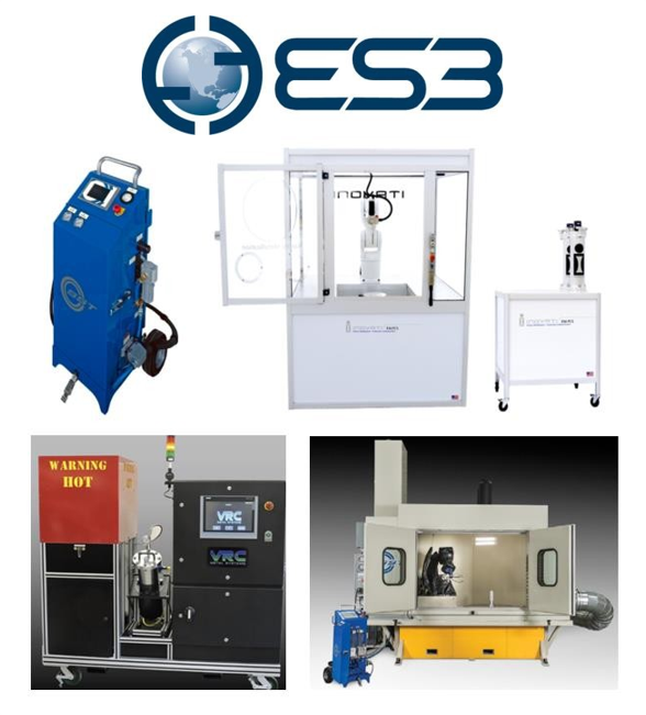 Figure 1. The four cold spray systems under evaluation in ES3's Phase II.5 & III cold spray SBIR projects.