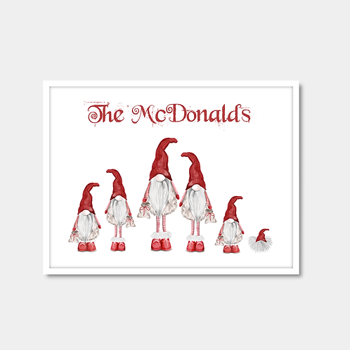 Personalised Gnome Family Print