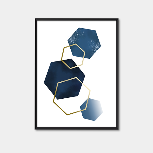 Blue and gold shapes