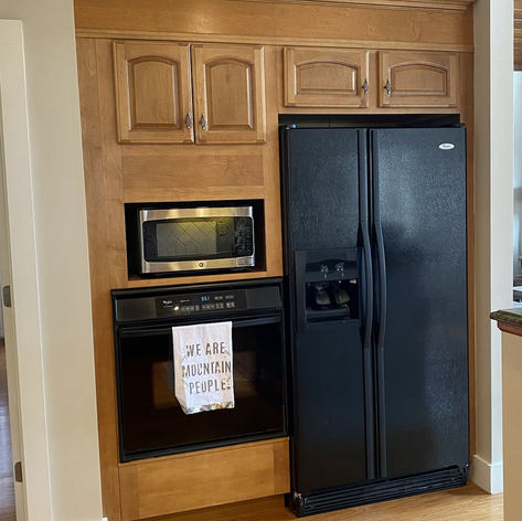 Full size refrigerator, microwave and oven