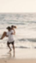 해피 커플 해변에서