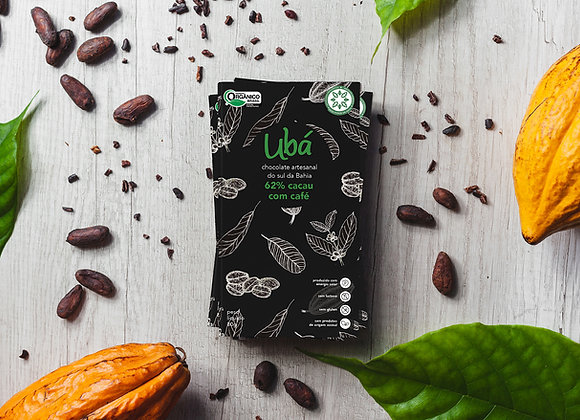 Ubá 62% Cacau Orgânico com Café 80g.