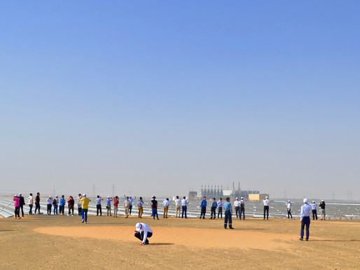 SolarSteam Inc. CEO Apostol Radev and CTO David Babich touring Shams 1 CSP plant in Madinat Zayed.