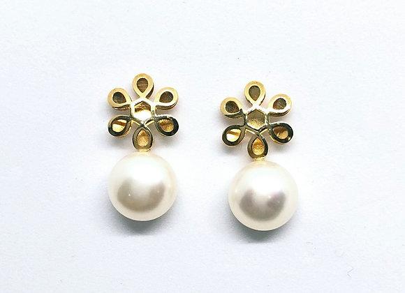Pendientes Flor y Perla Oro