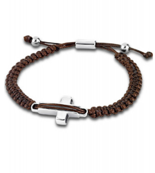 c0a64204f088 Pulsera para hombreLotus Style en acero Inoxidable. Realizada en hilo color  marrón. Cierre extensible.