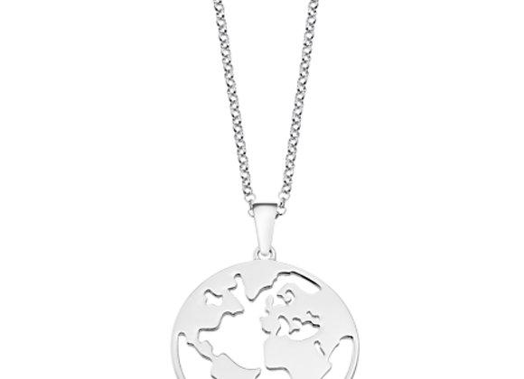 Collar Mapa del Mundo Plata