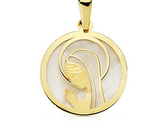 Medalla Virgen Niña Nacar