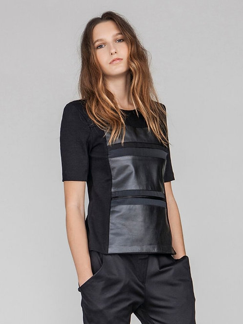 KAREN TOP | Organic Cotton & Leather treated with Olive Leaves