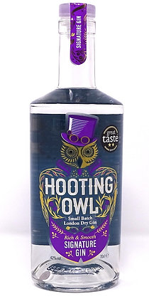 Hooting Owl - Signature Gin: 70cl, 50cl, 20cl and 5cl bottles.