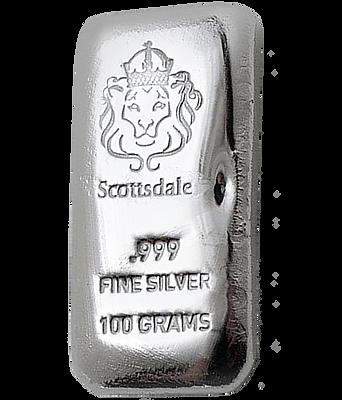 SCOTTSDALE 100g PURE .999 SILVER BULLION