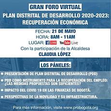Plan Distrital de Desarrollo 2023: recuperación económica