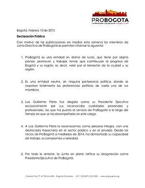 Declaración Pública Consejo Directivo – Febrero 11 de 2015