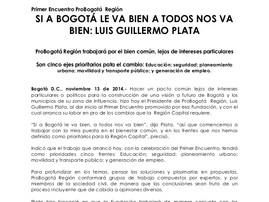 Si a Bogotá le va bien, a Todos nos va Bien: Luis Guillermo Plata