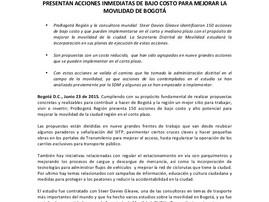 ProBogotá Región y la Secretaría Distrital de Movilidad presentan acciones inmediatas de bajo costo