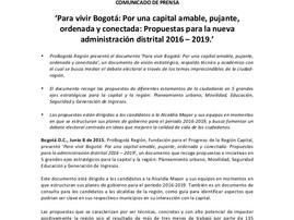 ProBogotá Región presentó propuestas para los candidatos a la Alcaldía de Bogotá