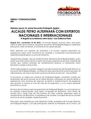 Alcalde Petro alternará con expertos nacionales e internacionales