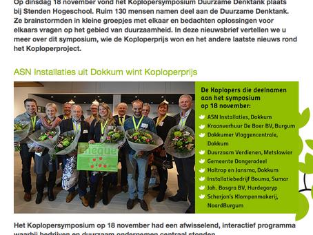 Nieuwsbrief Koploperproject december is uit