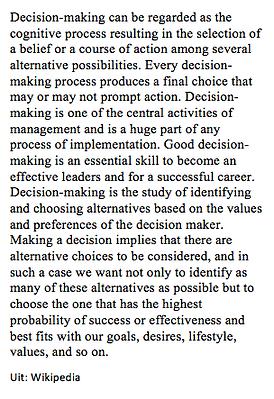 DZyzzion staat voor het maken van duurzame keuzes. Wat zegt Wikipedia hierover?