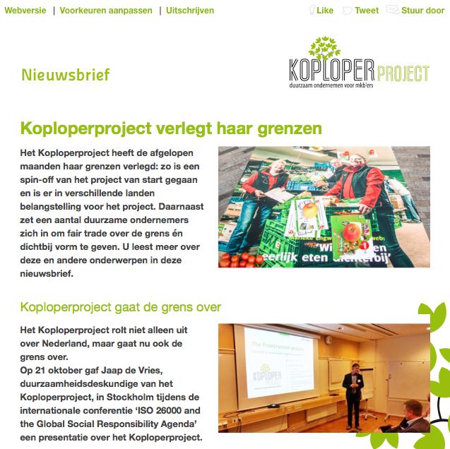 Nieuwsbrief Koploperproject