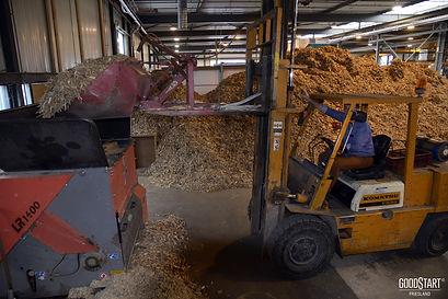 Aanvoer van houtsnippers in de biomassaketel