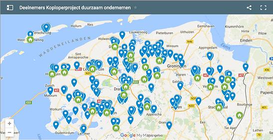 Kaartje deelnemers Koploperprojecten duurzaam ondernemen