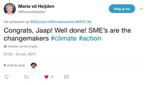 Tweet Maria van der Heijden van MVO-Nederland