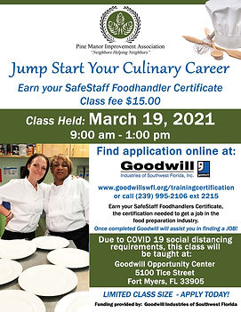 March 19 2021 1 Day Culinary Class flyer