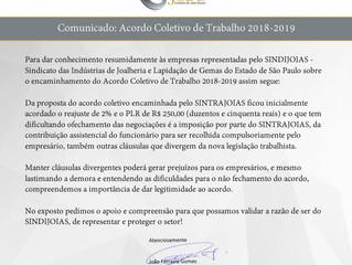 Informativo: Acordo coletivo de trabalho (2018-2019)