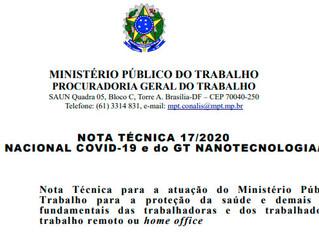 NOTA TÉCNICA 17/2020DO GT NACIONAL COVID-19 e do GT NANOTECNOLOGIA/2020