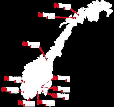 Kart over Sitecom i Norge