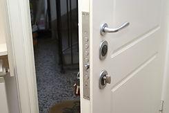 open security door with the keys in the
