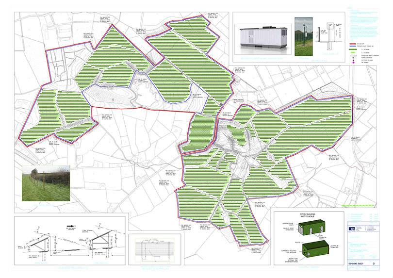 Map showing 250 acres of proposed ground mounted solar near Kells