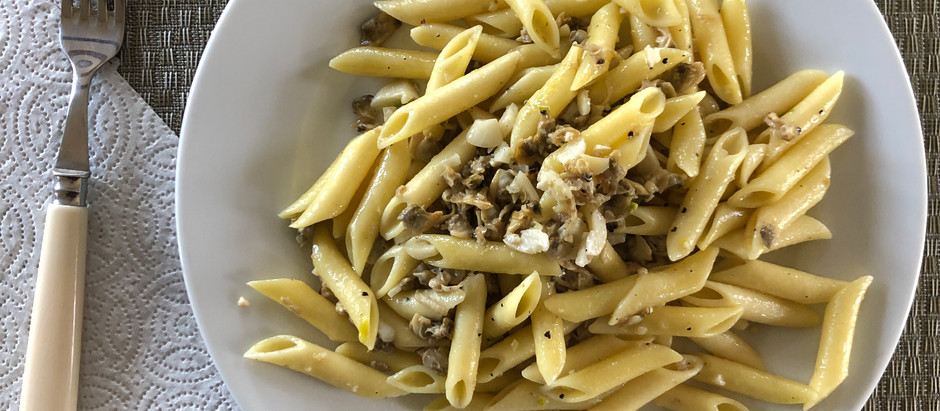 For Breakfast--- Penne with White Clam Sauce