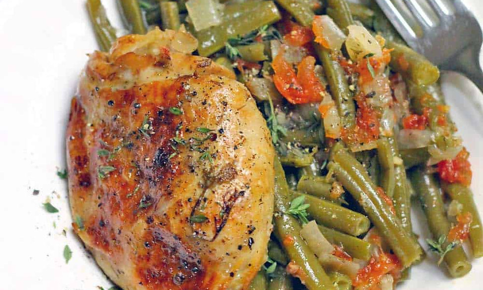 Mesquite Smoked Chicken Thighs/Legs with Green Beans and Potatoes