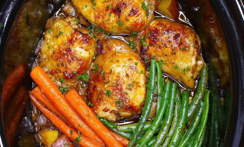 Applewood Smoked Thai BBQ Chicken Thighs and Green Beans and Baby Carrots