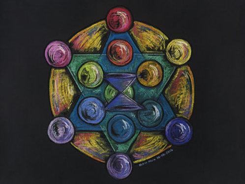 RAINBOW METATRON'S CUBE - Original Art