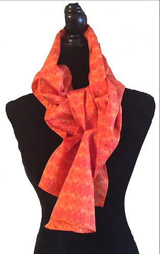 'Grace' Orange Long Scarf (silk habotai)