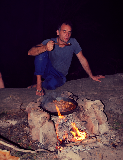 Dinner at the camp fire, Newes, Australia