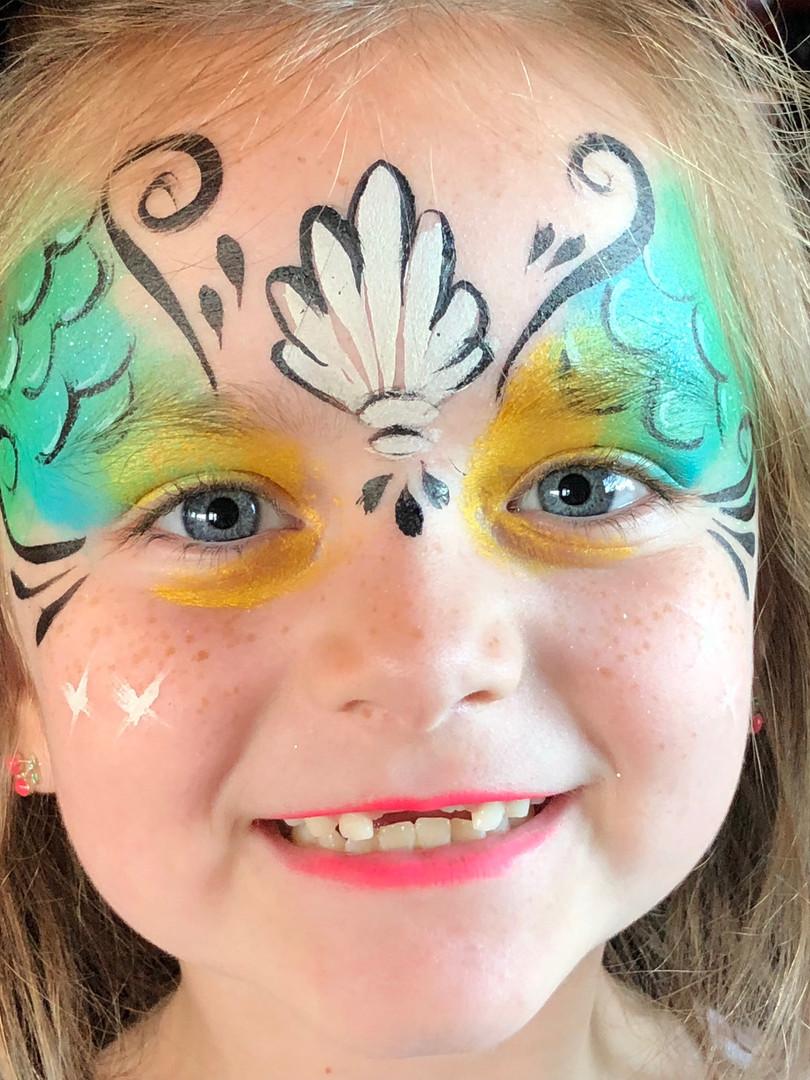 Mermaid face paint, mermaid themed birthday party, girl's birthday