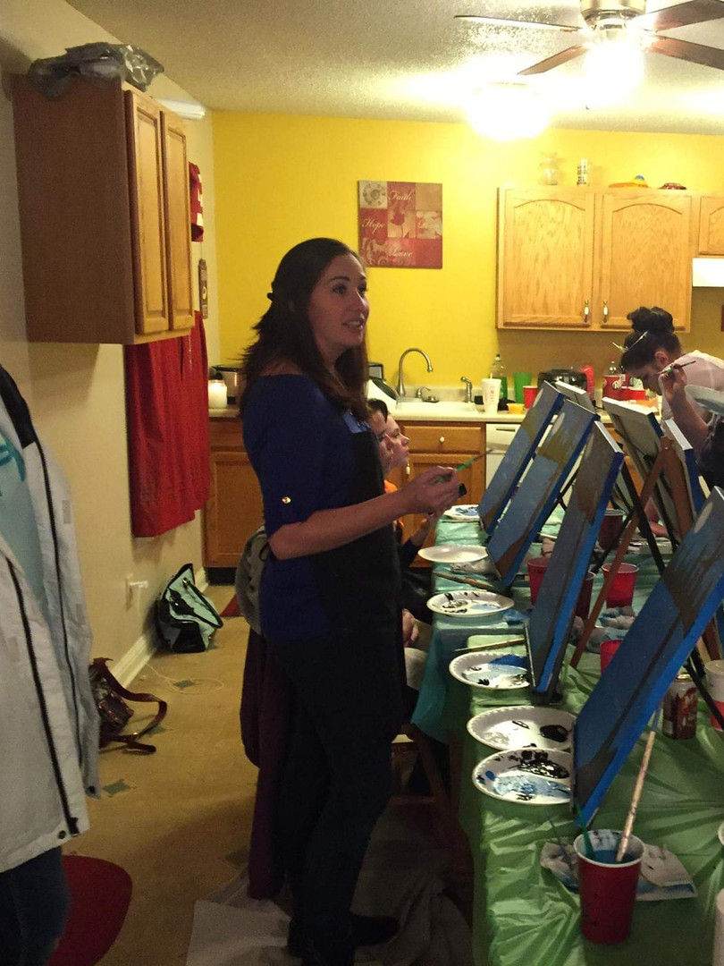 The fun aunt threw a paint party sleepover for her teen neice