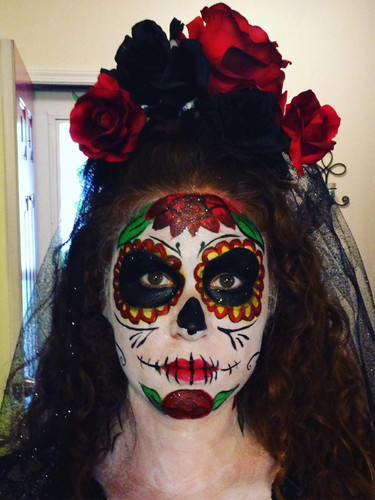 Day of the Dead Halloween makeup face painting Knoxville area. Adult face painting