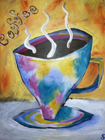 Funky mug canvas painting Knoxville TN