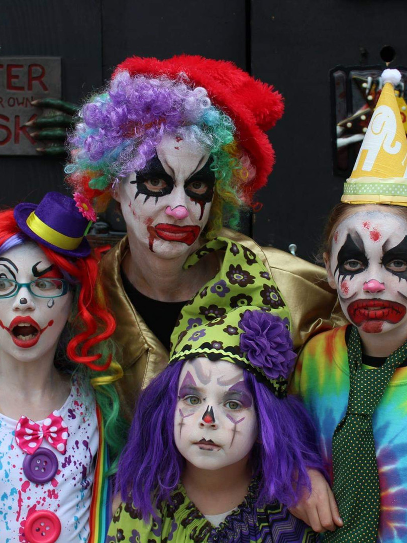 Scary clown face paint, haunted house event in Knoxville TN