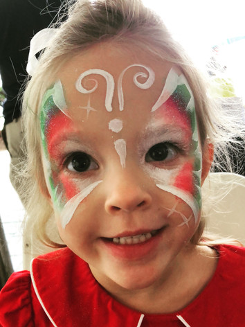 Christmas butterfly face paint, Knoxville TN, restaurant entertainment, kid's party
