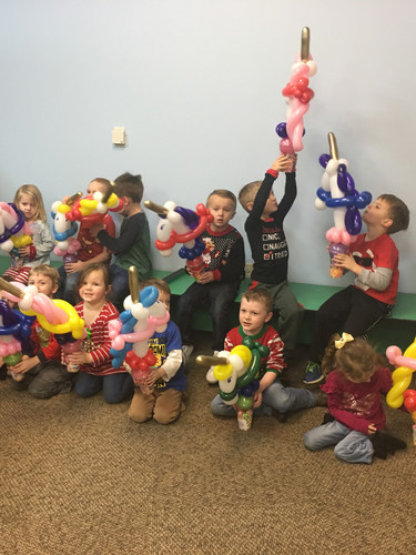 Happy preschool class with their party favors from Imagination Jubilation!