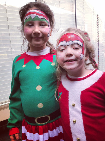 Santa and Elf face paint, Knoxville TN kid's party entertainment