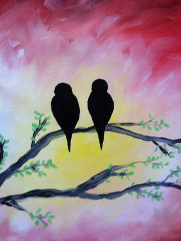 Lovebirds canvas painting party